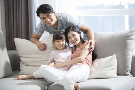 three generation: Happy young family