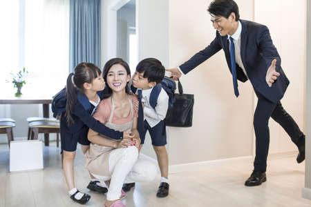 executive apartment: Happy children come back home from school