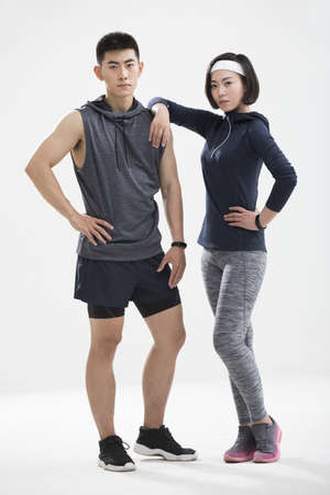 Young Chinese couple exercising