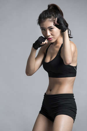 Young Chinese female boxer