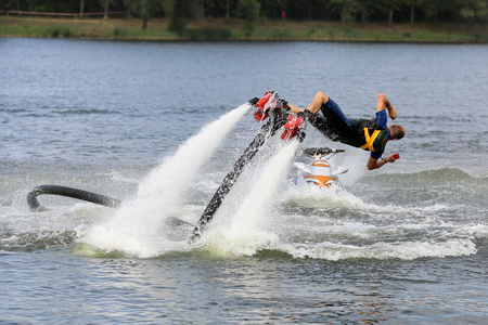 above 18: Flyboard - a device used to practice extreme sports. On the device, you can perform a variety of stunts in the water and in the air ascent up to 18 meters above the water level.