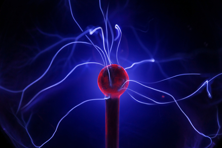 Discharge in the plasma ball. Stock Photo