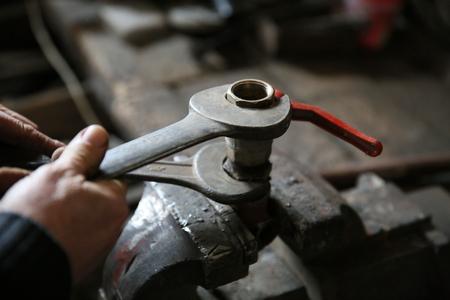 Old locksmith repairs Stock Photo