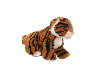 Plush toys for a baby on a white background