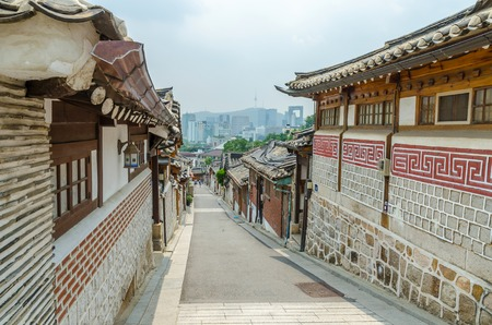 korean culture: Bukchon hanok village in summer at historical district seoul south korea Stock Photo