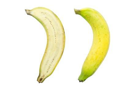Raw thai banana isolated on white background photo