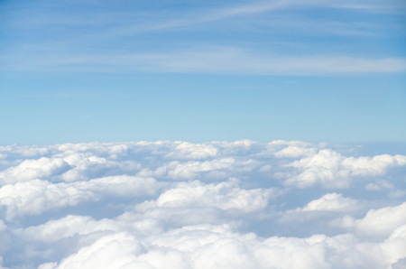 bright space: Cloud and blue sky view from airplane Stock Photo