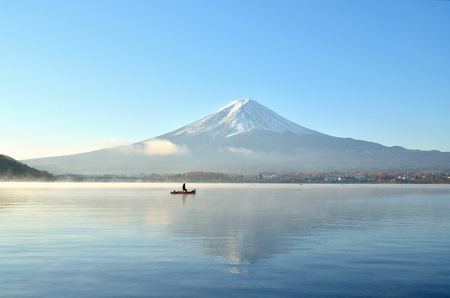 Mount fuji in autumn at kawaguchiko lake japan photo