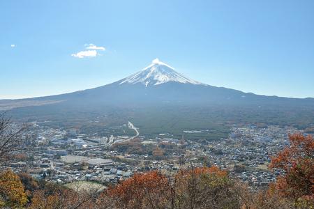 Mount fuji and city in yamanashi japan photo