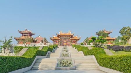 china landscape: A-Ma cultural village and blue sky  in macau china Stock Photo