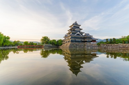 reflect: Matsumoto castle reflect on water in evening at nagano japan