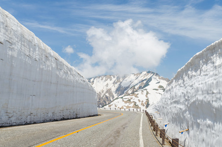 corridors: Empty road and snow wall at japan alps tateyama kurobe alpine route Stock Photo