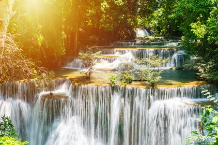 Huay mae khamin waterfall in khuean srinagarindra national park at kanchanaburi thailand