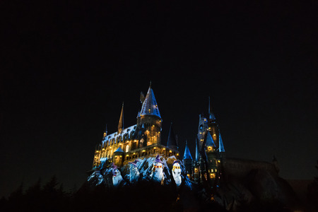 Osaka, Japan - Nov 24, 2017: Hogwarts castle in The Wizarding World of Harry Potter zone at Universal Studios Japan (USJ). Universal Studios Japan is the famous theme park in osaka Sajtókép