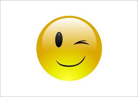 Aqua Emoticons - Wink Stock Photo