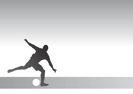 striker: Stricker silhouette 1a - kicking a soccer ball Stock Photo