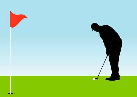 putter: Pro Golfer on the green putting a golf ball in to a hole