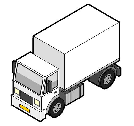 mail truck: Isometric Delivery Truck