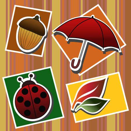 Herfst symbolen Stock Illustratie