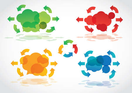 Speech clouds with arrows  Stock Illustratie