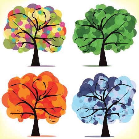 Abstract vector seasonal trees Vector