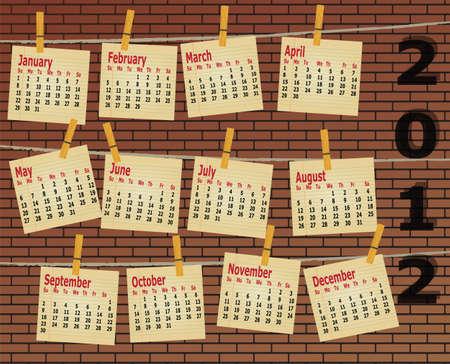 2012 calendar on brick wall