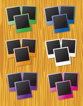 fanned: Groups of instant photos in different colors on wood background Illustration