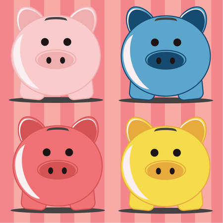 Piggy bank in four colors Vector