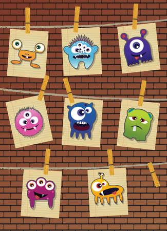 벽돌 벽에 괴물의 컬렉션