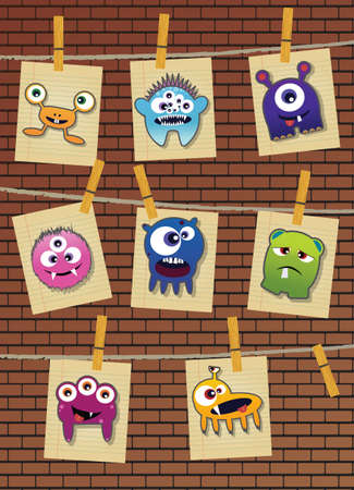 funny creature: Collection of monsters on brick wall Illustration
