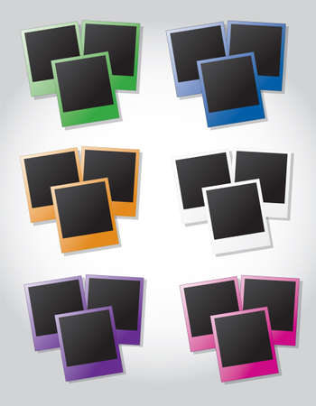 fanned: Groups of instant photos in different colors on gray background