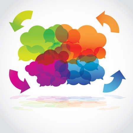 화살표와 함께 다채로운 용암 음성 구름 그룹