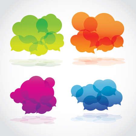 social net: Group of four lava speech clouds