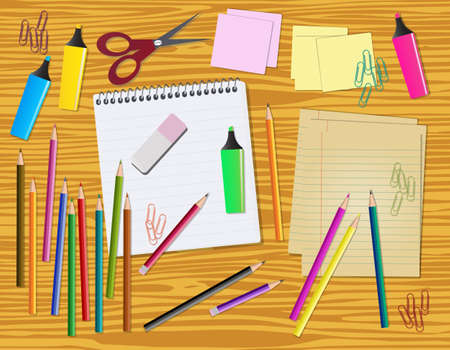 school work: Work desk, back to items, with stationery Illustration