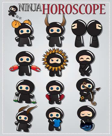 Zodiac signs with cute black ninja characters, vector Illustration