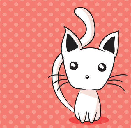 Adorable kitten on dotted background, vector illustration Vector