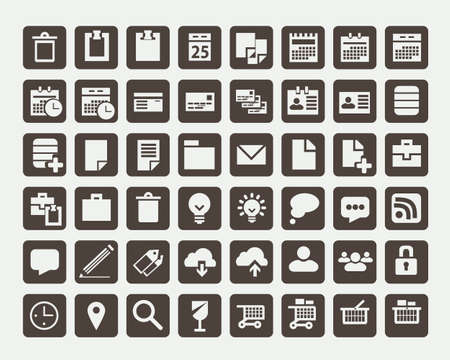 phone button: Collection of flat icons, vector illustration Illustration