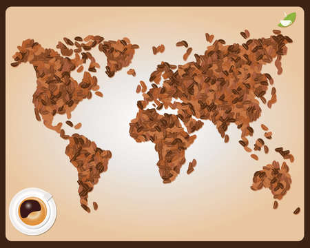 World map made of coffee beans with cup of coffee, vector Vector