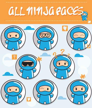 Verzameling van cartoon ninjas met verschillende gezichten