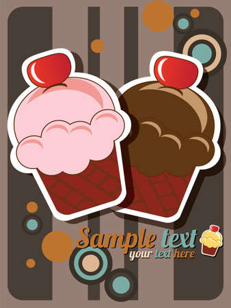 Cup cake invitation background with place for text, vector Vector