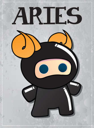 Zodiac sign Aries with cute ninja character, vector Illustration