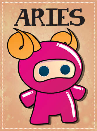 green crab: Zodiac sign Aries with cute ninja character, vector Illustration