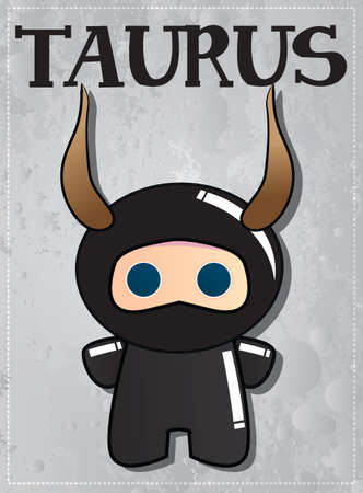 virgo zodiac sign: Zodiac sign Taurus with cute ninja character, vector