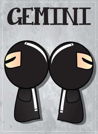 Zodiac sign Gemini with cute ninja character, vector