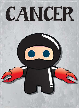 Zodiac sign Cancer with cute ninja character, vector