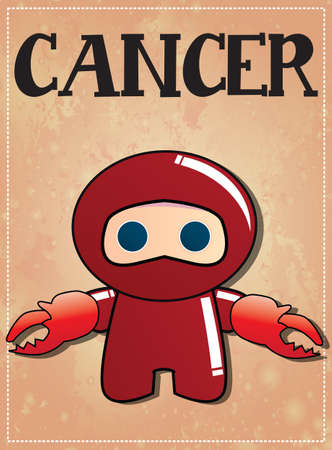 Zodiac sign Cancer with cute ninja character, vector Vector