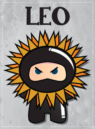 Zodiac sign Leo with cute ninja character, vector Illustration