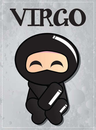 Zodiac sign Virgo with cute black ninja character, vector Vector