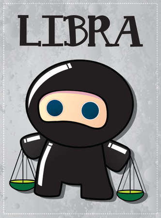 Zodiac sign Libra with cute black ninja character, vector