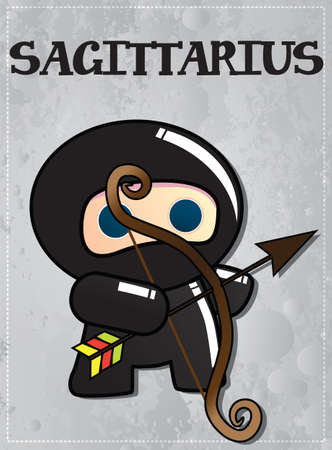 sagittarius: Zodiac sign Sagittarius with cute black ninja character, vector Illustration